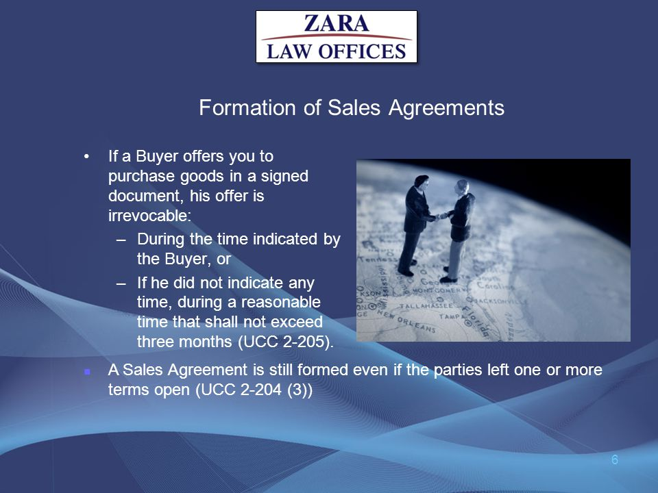 Formation of Sales Agreements