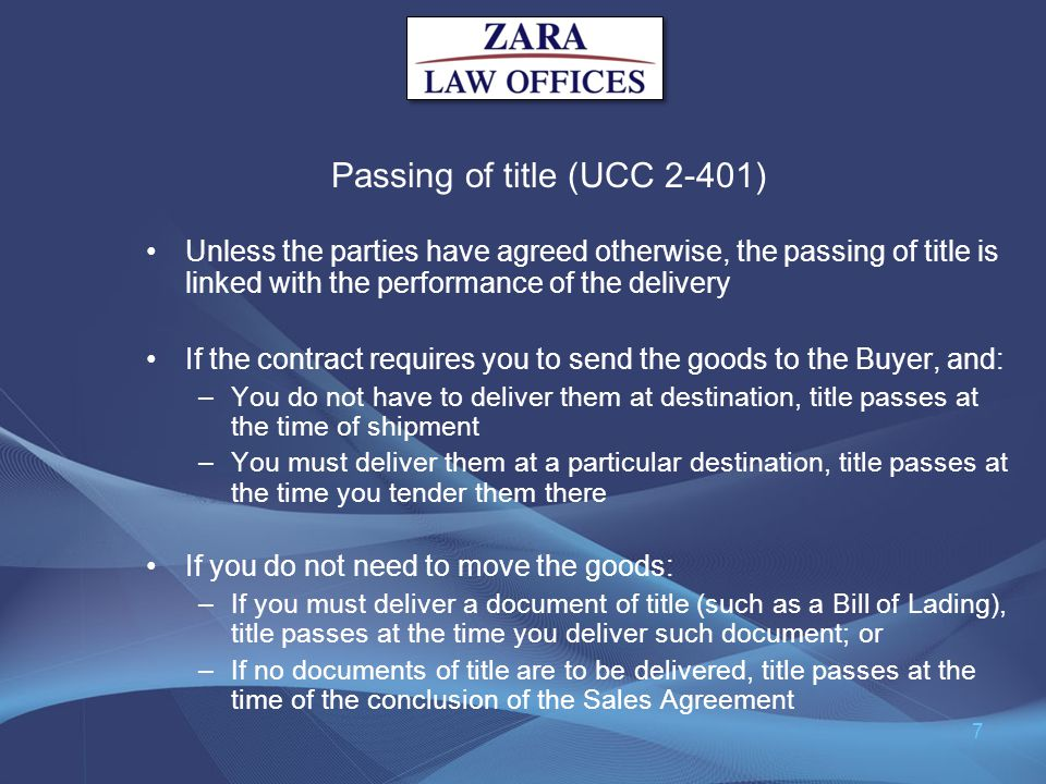 Passing of title (UCC 2-401)
