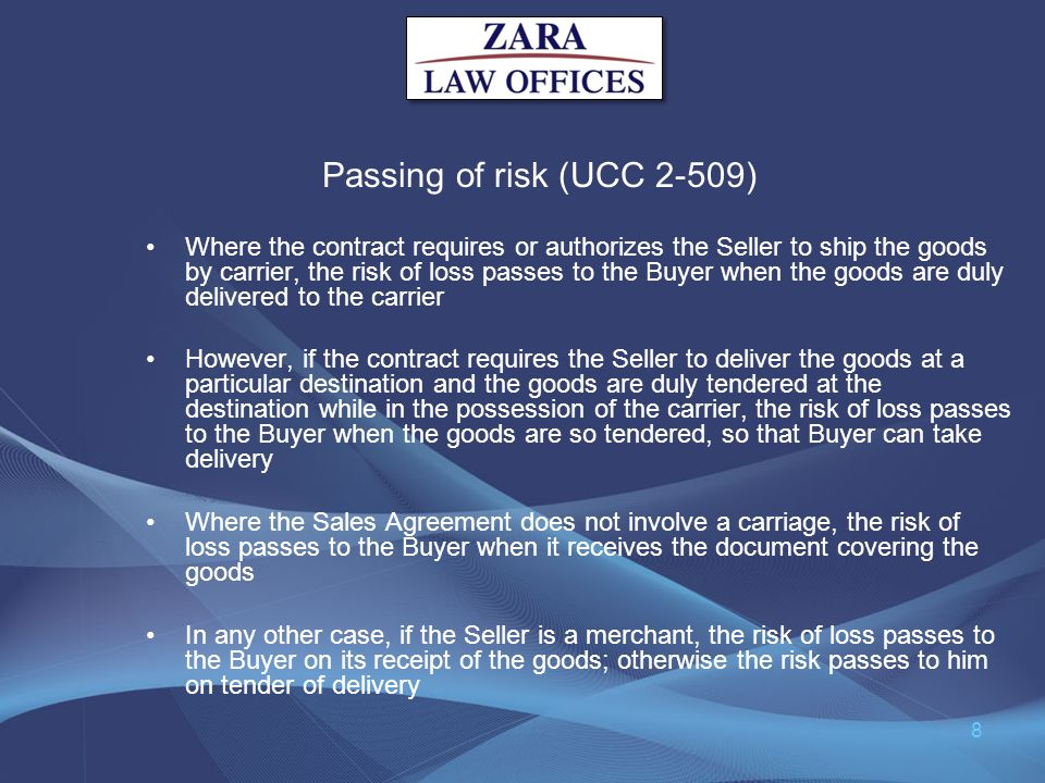 Passing of risk (UCC 2-509)