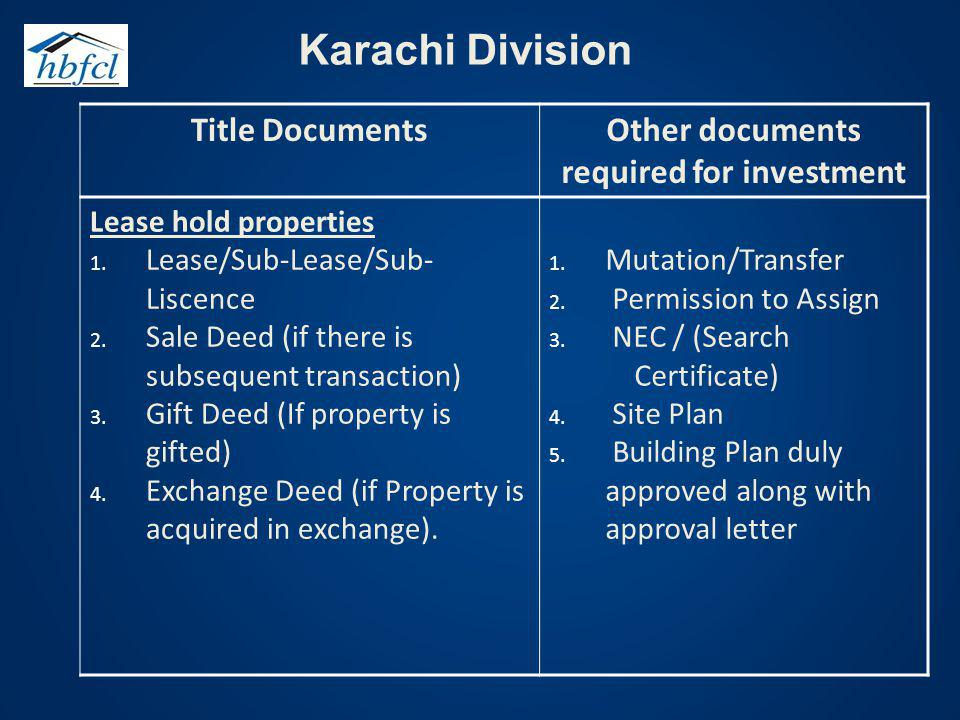 Other documents required for investment