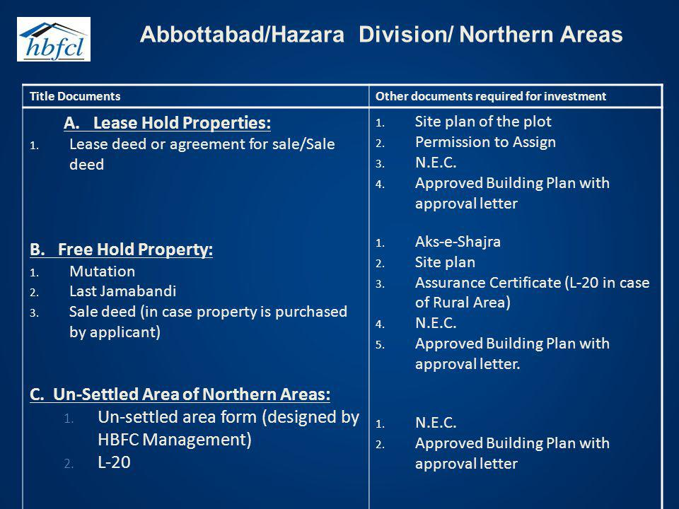 Abbottabad/Hazara Division/ Northern Areas