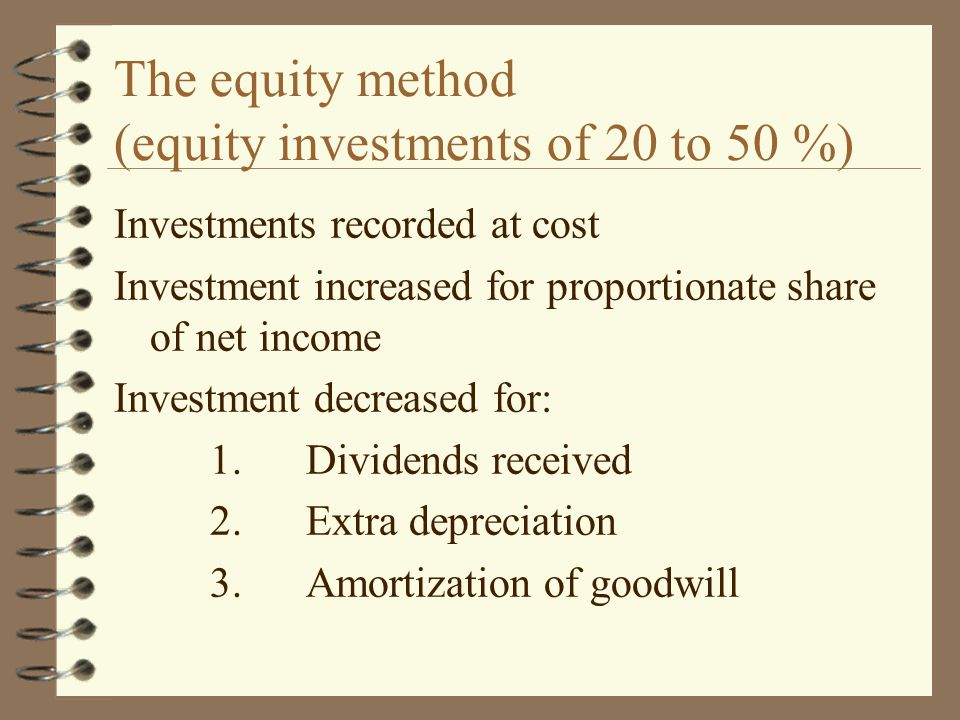 The equity method (equity investments of 20 to 50 %)