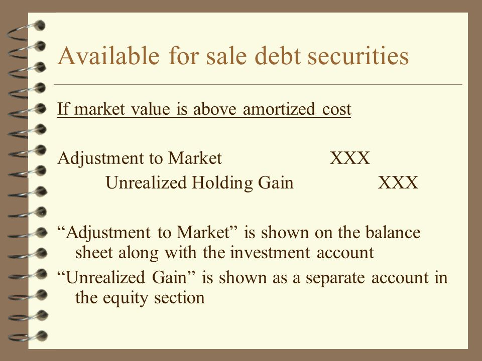 Available for sale debt securities