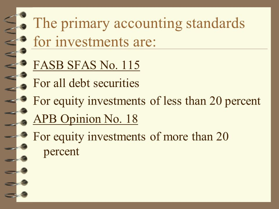 The primary accounting standards for investments are: