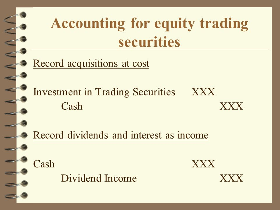 Accounting for equity trading securities