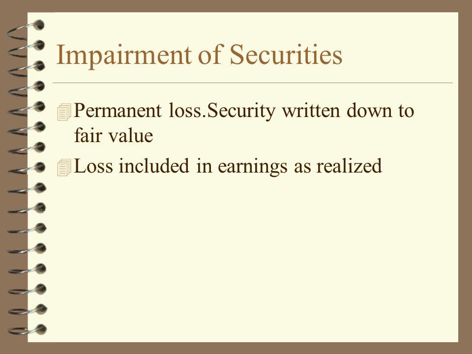 Impairment of Securities