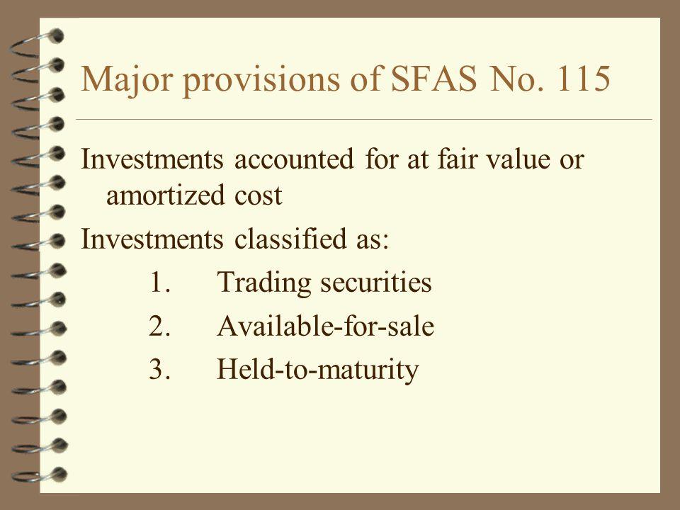 Major provisions of SFAS No. 115