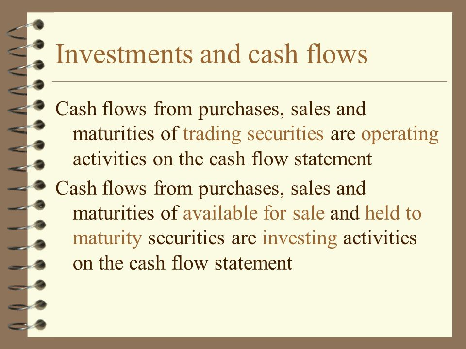 Investments and cash flows
