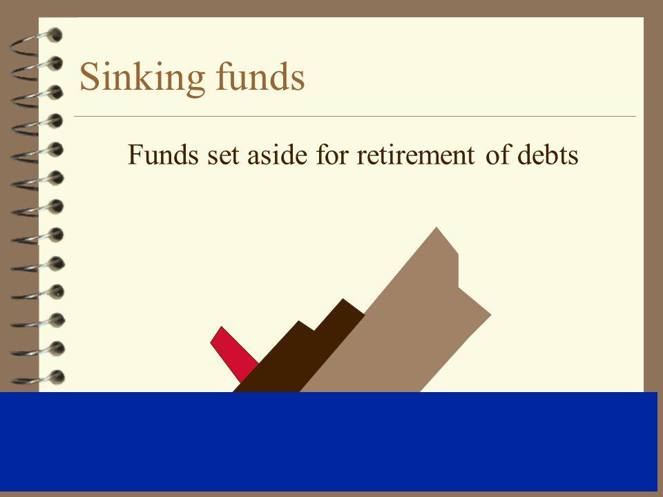 Funds set aside for retirement of debts