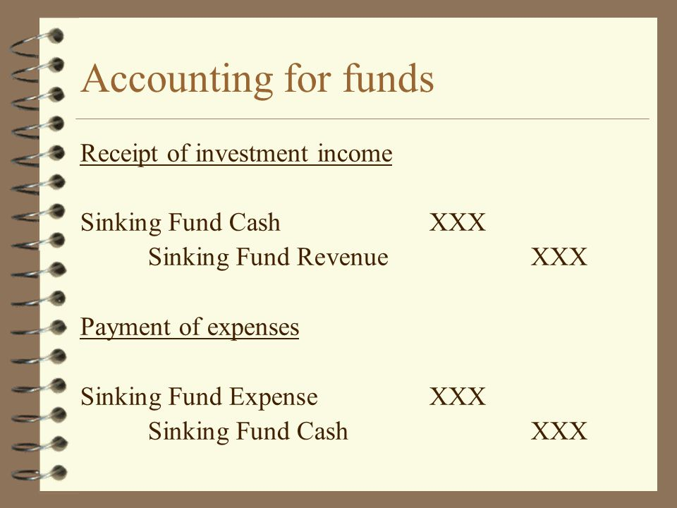 Accounting for funds Receipt of investment income
