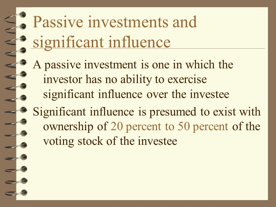 Passive investments and significant influence