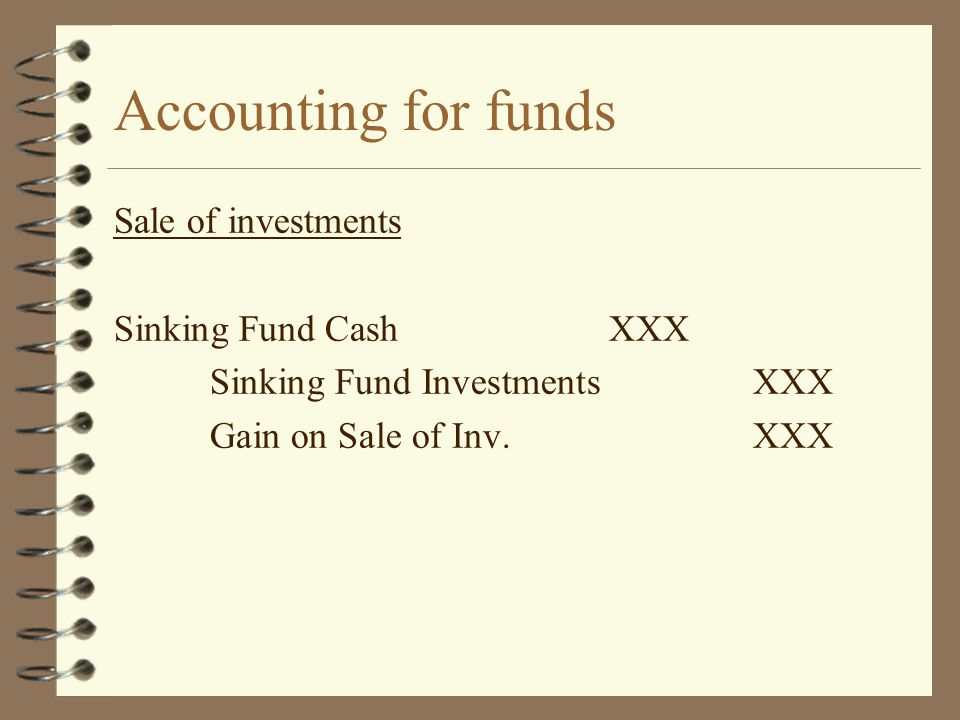 Accounting for funds Sale of investments Sinking Fund Cash XXX