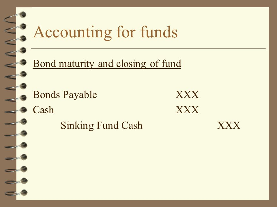 Accounting for funds Bond maturity and closing of fund