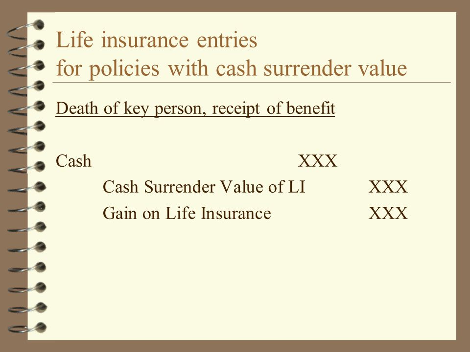 Life insurance entries for policies with cash surrender value