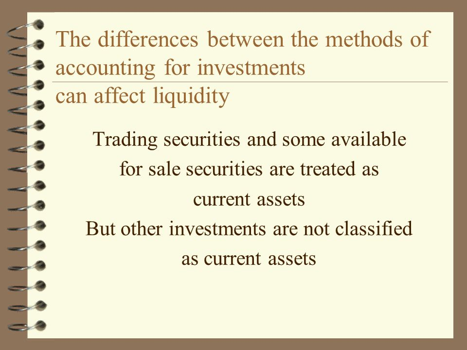 The differences between the methods of accounting for investments can affect liquidity
