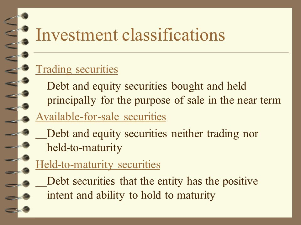 Investment classifications