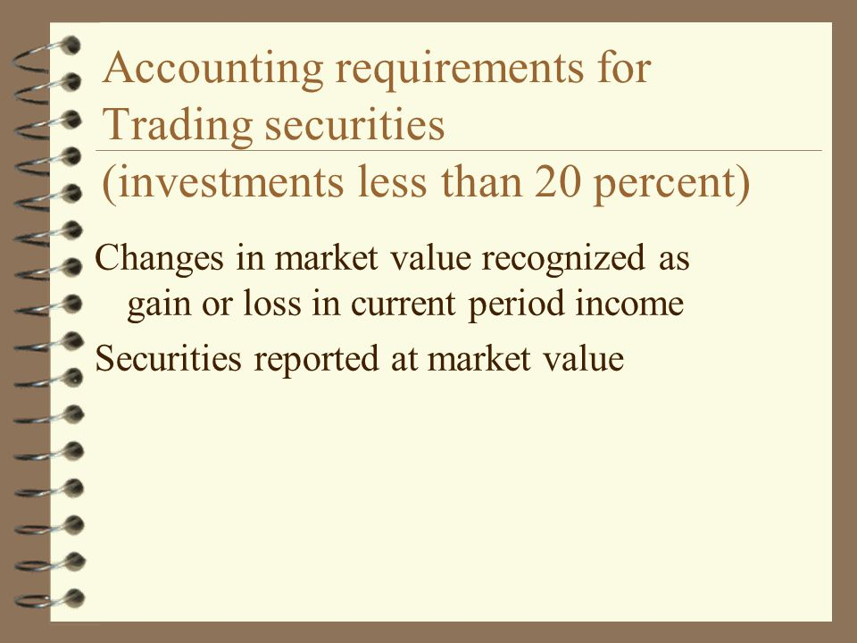 Accounting requirements for Trading securities (investments less than 20 percent)