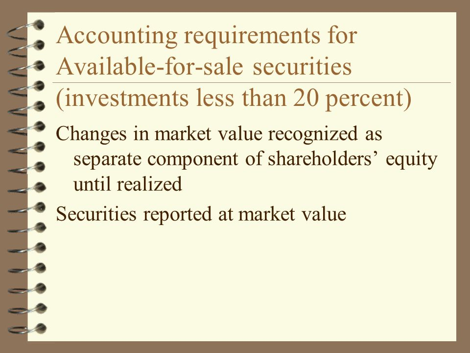 Accounting requirements for Available-for-sale securities (investments less than 20 percent)