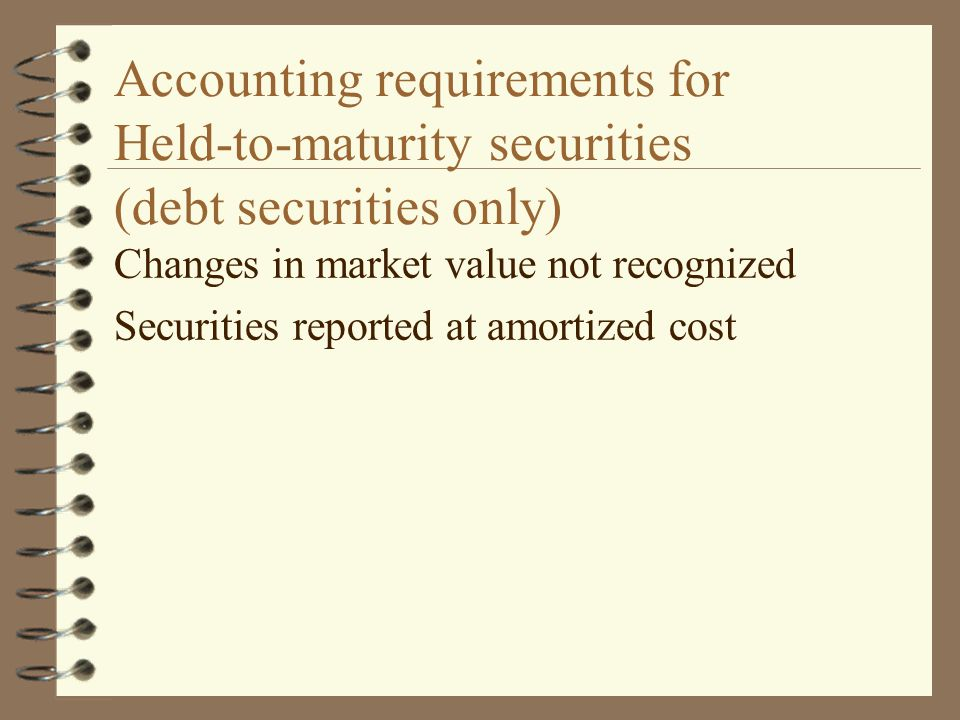 Accounting requirements for Held-to-maturity securities (debt securities only)