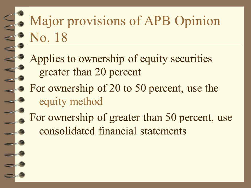 Major provisions of APB Opinion No. 18