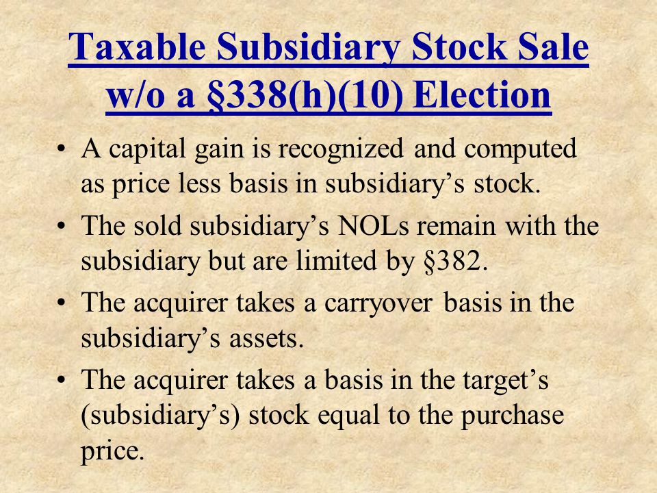 Taxable Subsidiary Stock Sale w/o a §338(h)(10) Election