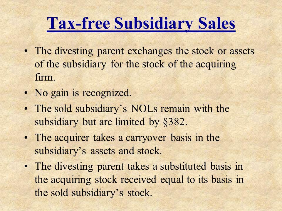 Tax-free Subsidiary Sales