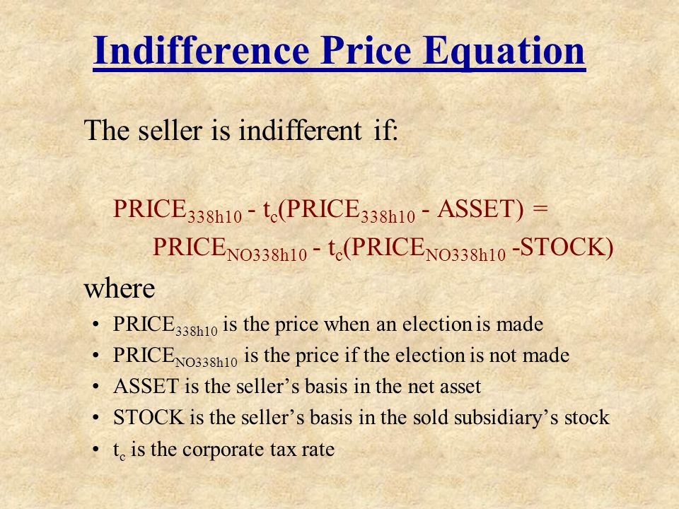 Indifference Price Equation