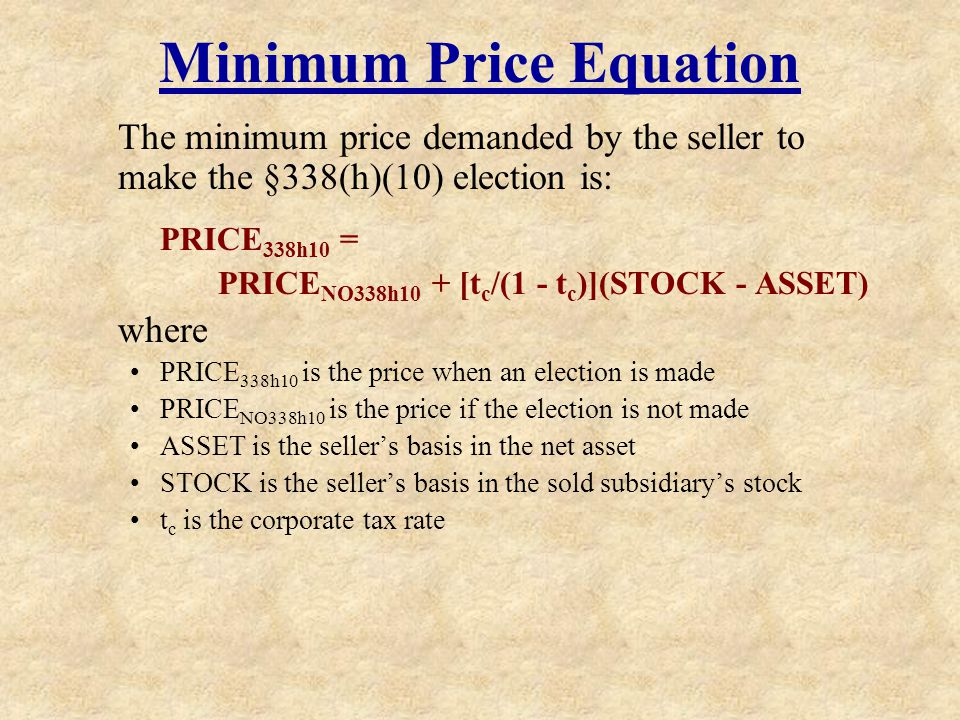 Minimum Price Equation