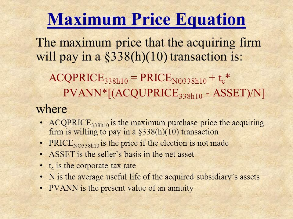 Maximum Price Equation