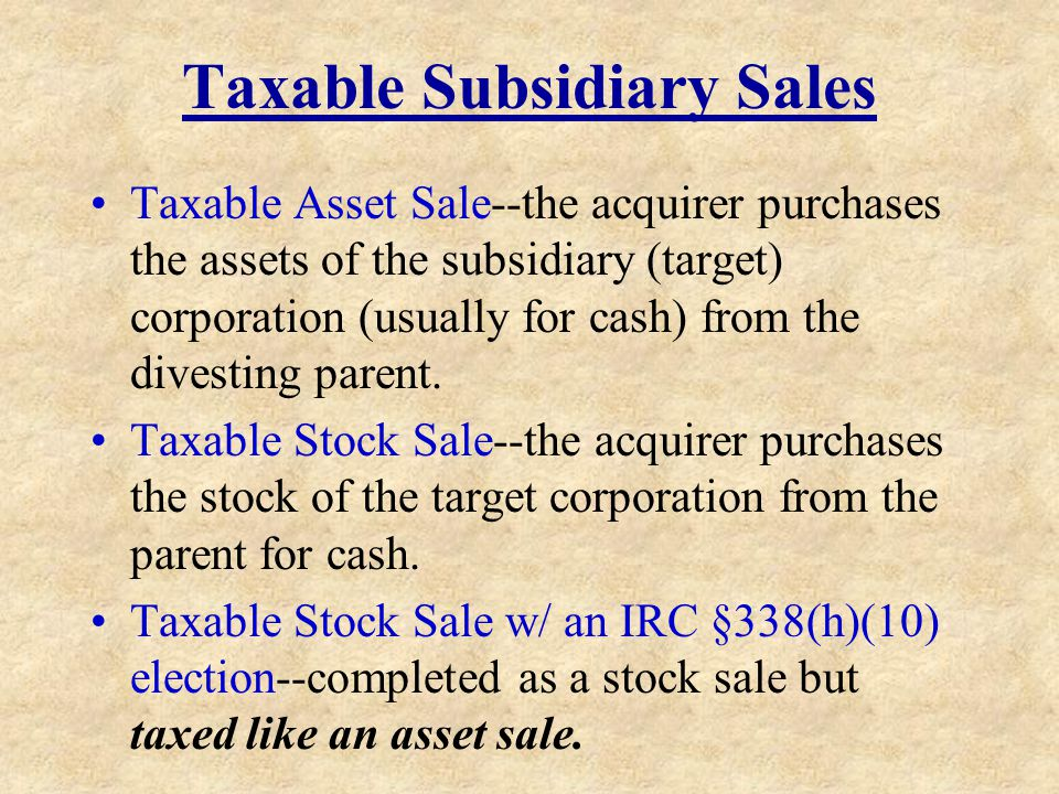 Taxable Subsidiary Sales