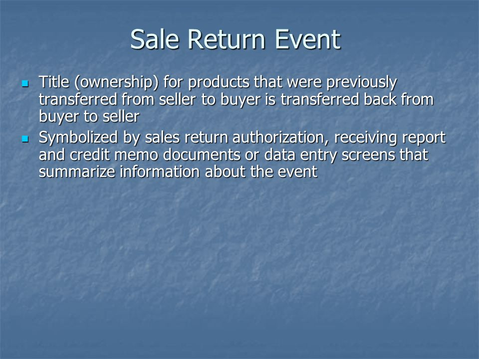 Sale Return Event Title (ownership) for products that were previously transferred from seller to buyer is transferred back from buyer to seller.