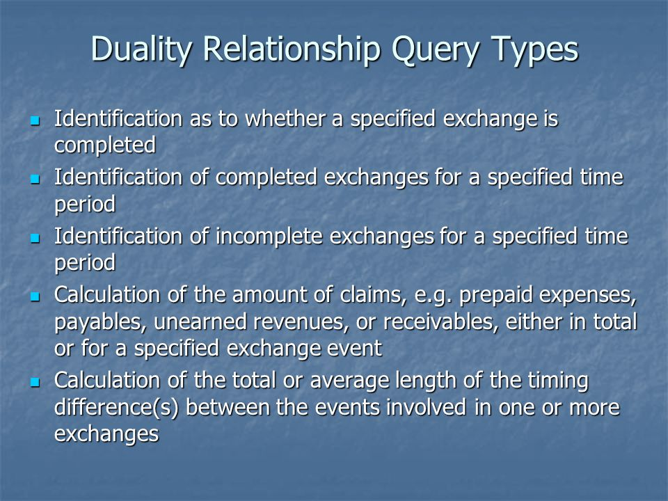 Duality Relationship Query Types