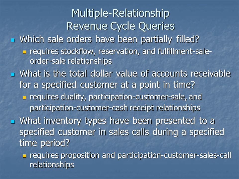 Multiple-Relationship Revenue Cycle Queries