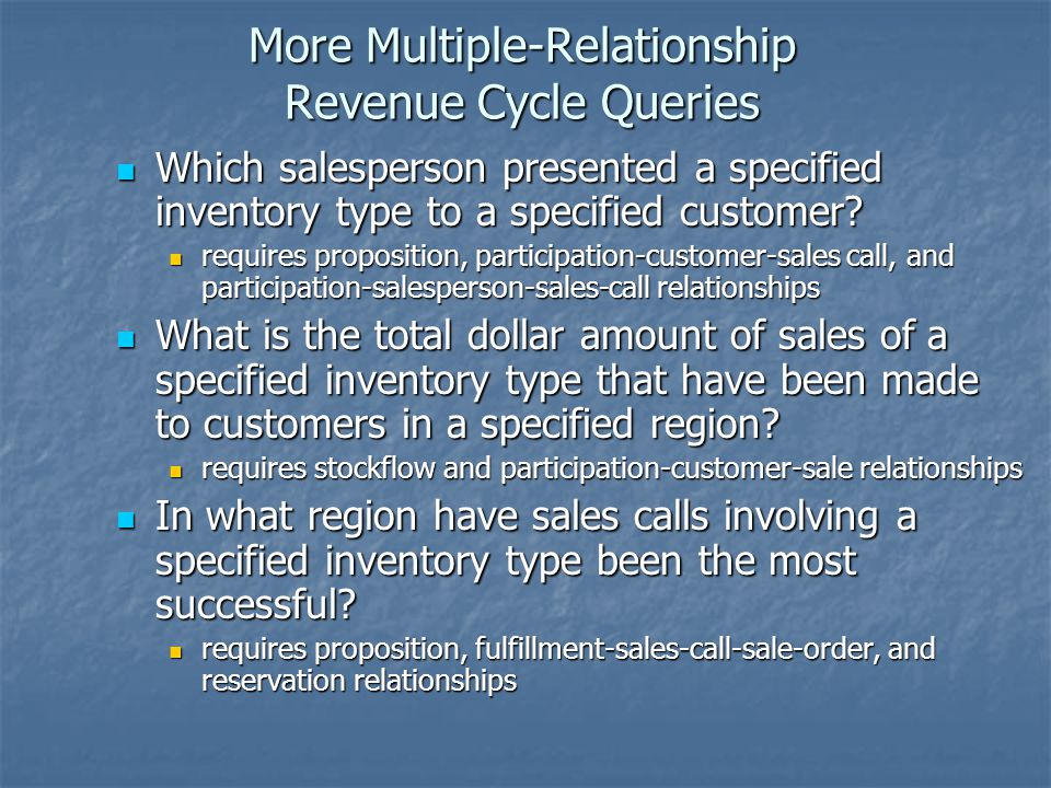 More Multiple-Relationship Revenue Cycle Queries