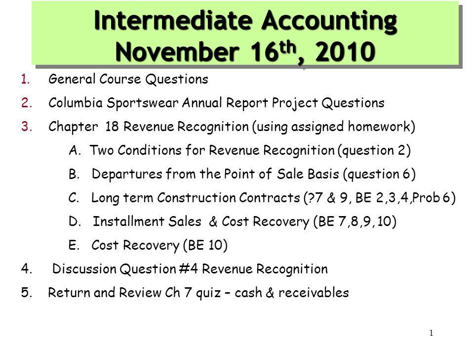 Intermediate Accounting November 16th, 2010