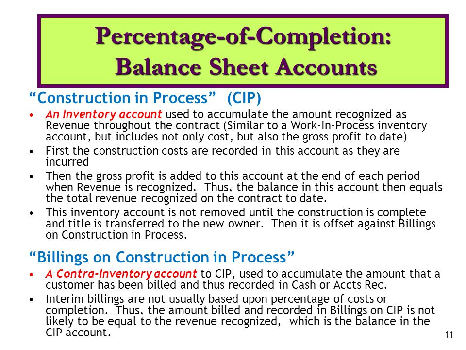 Percentage-of-Completion: Balance Sheet Accounts