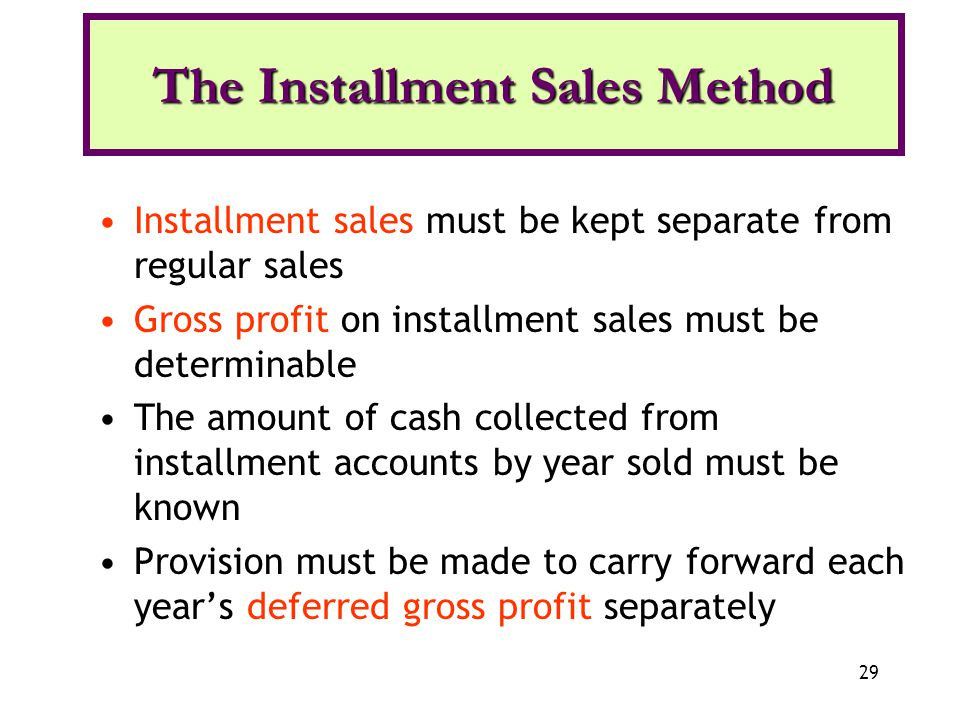 The Installment Sales Method