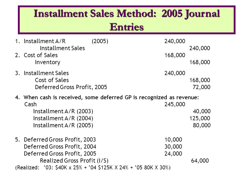 Installment Sales Method: 2005 Journal Entries