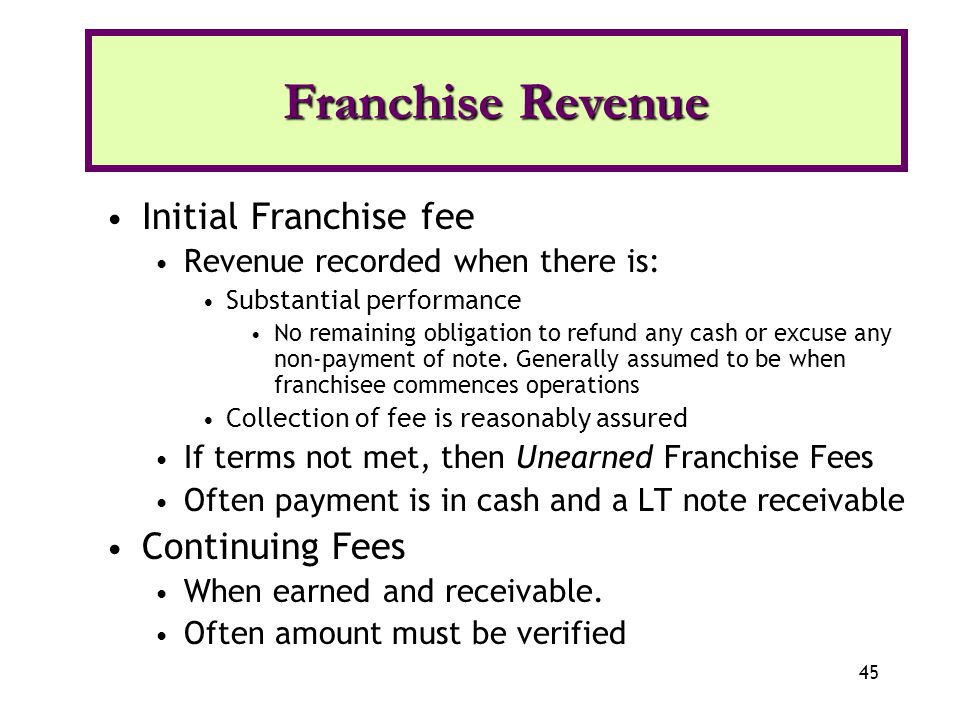 Franchise Revenue Initial Franchise fee Continuing Fees