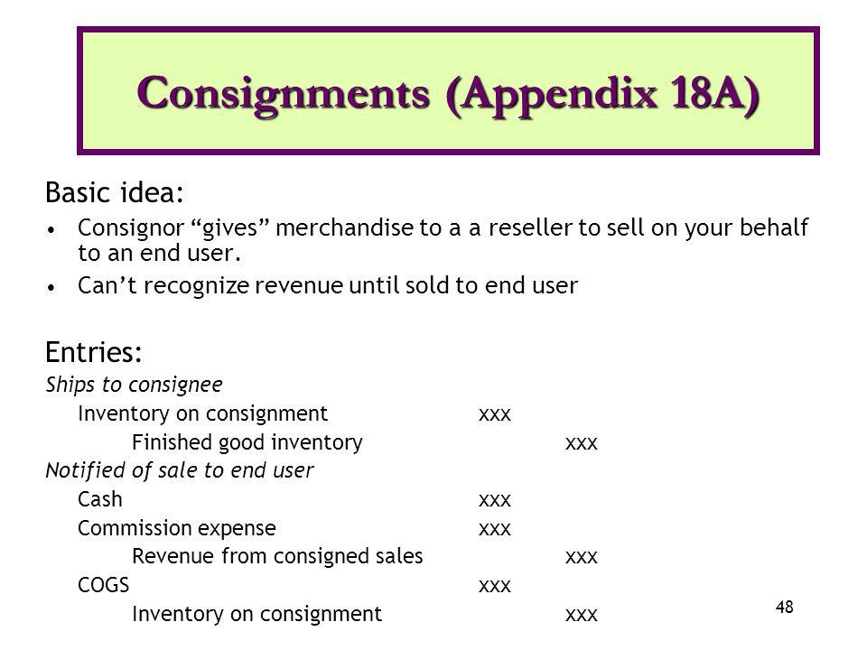 Consignments (Appendix 18A)