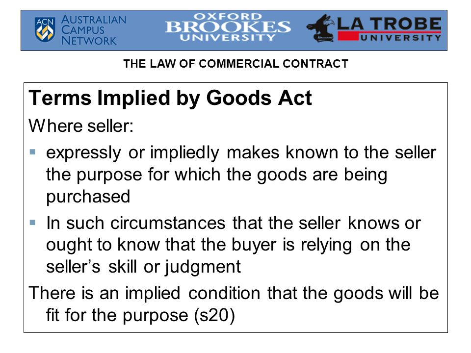 Terms Implied by Goods Act