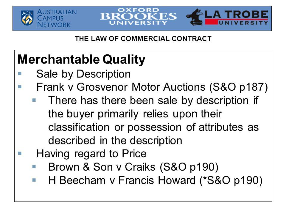 Merchantable Quality Sale by Description