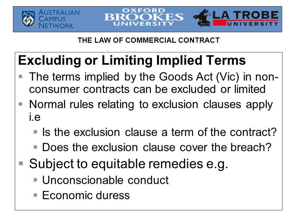 Excluding or Limiting Implied Terms
