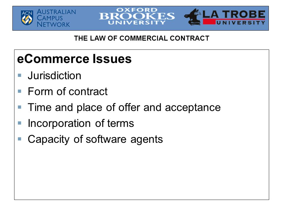 eCommerce Issues Jurisdiction Form of contract