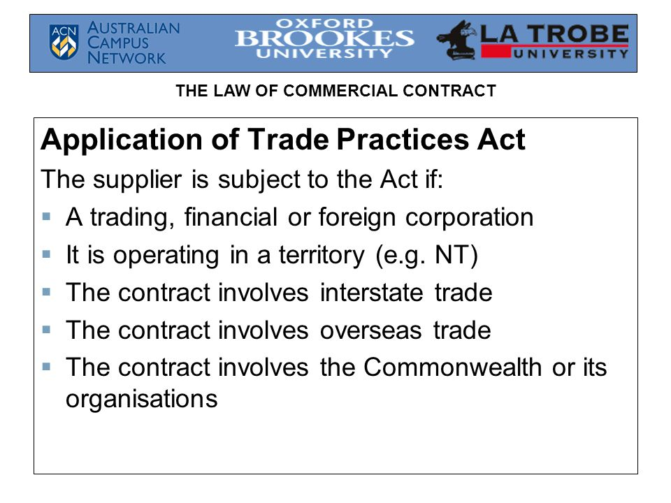 Application of Trade Practices Act