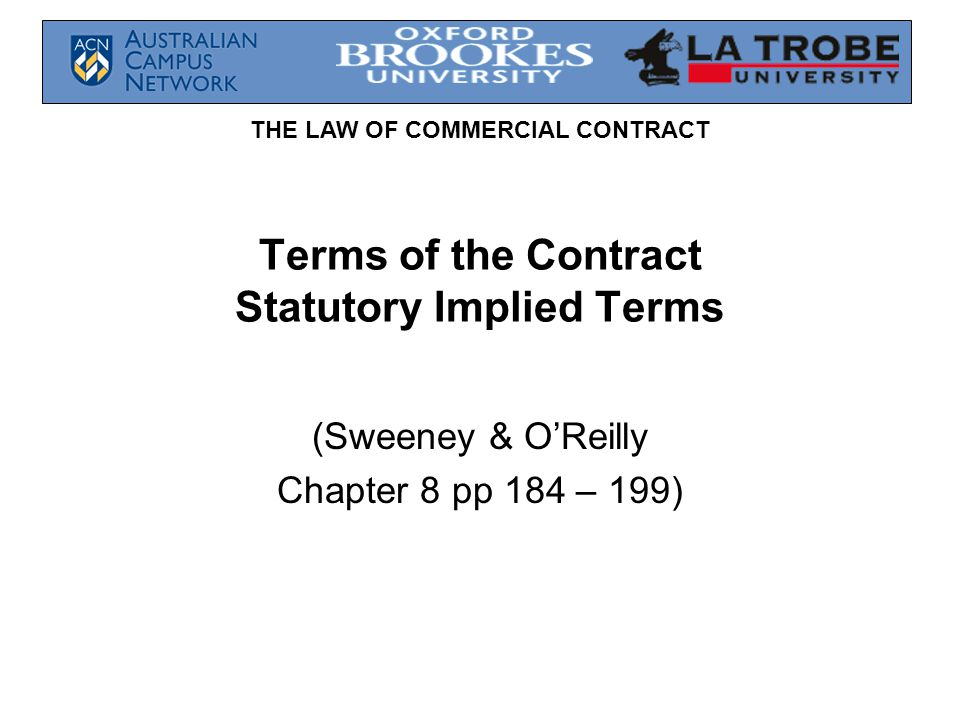 Terms of the Contract Statutory Implied Terms