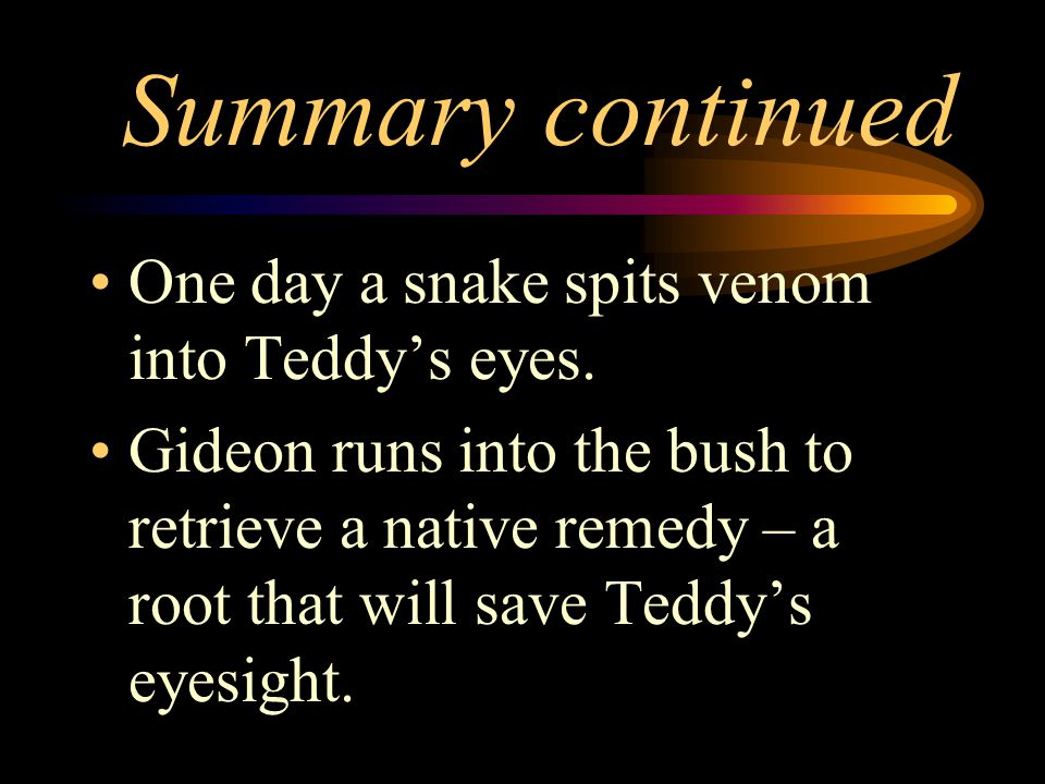 Summary continued One day a snake spits venom into Teddy's eyes.