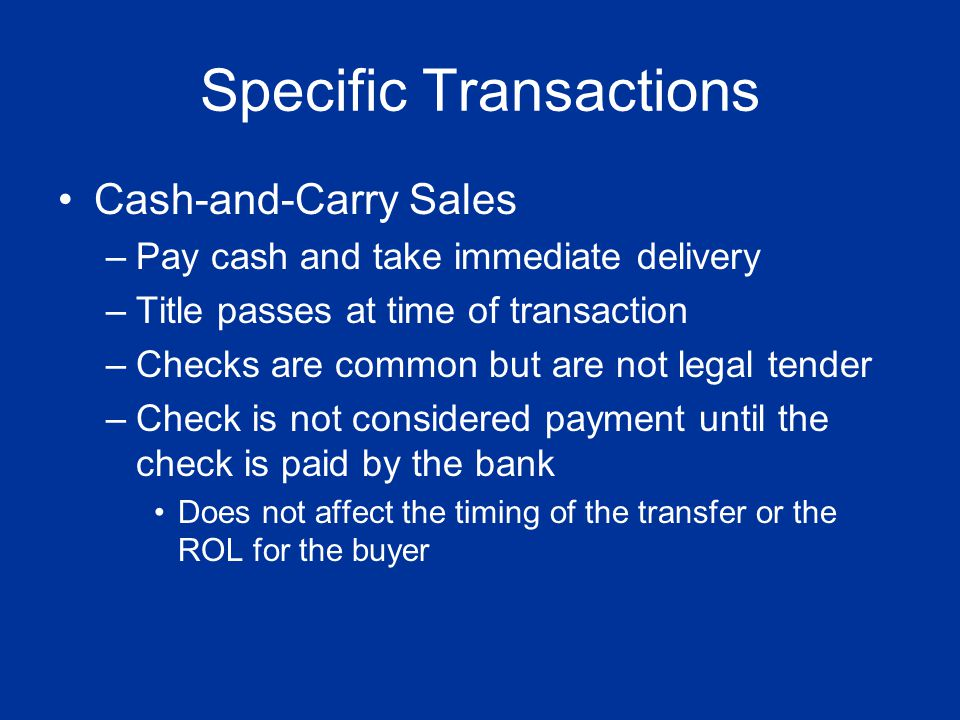 Specific Transactions