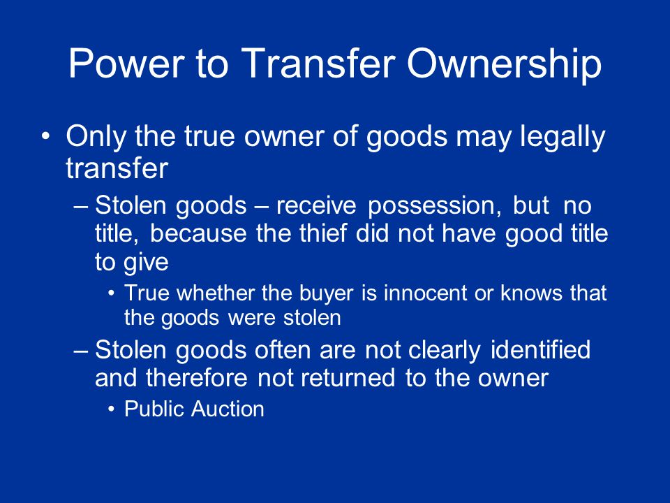 Power to Transfer Ownership