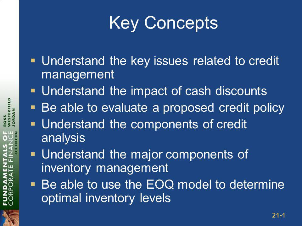 Credit Management: Key Issues